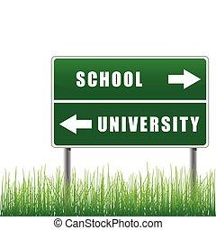 roadsign, schule, university.