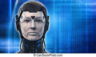 Roboter-Frau-Technologie Hintergrund - 3D Rendering Tapete.