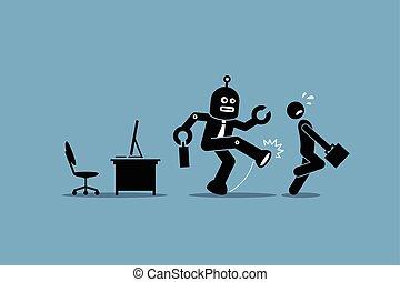 Roboter-Mitarbeiter verscheucht einem menschlichen Arbeiter seinen Computerjob im Büro.