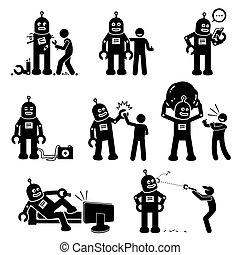 Roboter und Mensch.