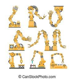 Roboterarme, Hände. Vector-Roboter-Icons eingestellt.