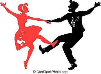 Rockabilly, tanzendes Silhouett.