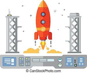 Rocket Start-up Flat Desing Konzept.