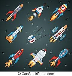 Rockets Flat Icon Set.