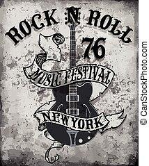 Rock'n Roll Poster Gitarrist Design tee Vektor Kunst.
