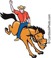 Rodeo Cowboy reitet auf dem Bronco Cartoon.