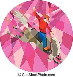 Rodeo Cowboy reitet Bronco mit niedrigem Polygon.