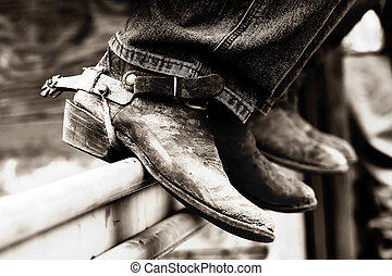 Rodeo Cowboystiefel & Sporen (BW)