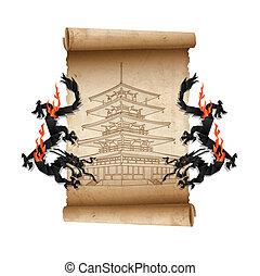 Rolle des alten Pergament mit Pagoda und Drachen