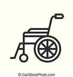 Rollstuhl, gesundheitsbezogenes Schema, Vektorgrafik.