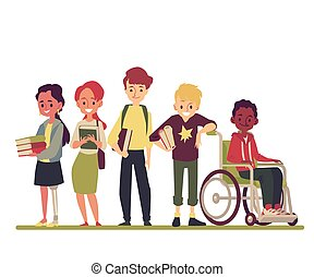 rollstuhl, m�dchen, stehende , prothetisch, behinderten, junge, beine, friends.