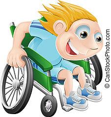 Rollstuhl-Renn-Cartoon-Mann