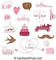 Romantische Hochzeitsdesign-Elemente - für Einladung, Sammelalbum im Vektor