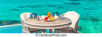 romantische , segeltörn, feiertag, banner., reise, panoramisch, flitterwochen, tisch, gasthaus, urlaub, hotel, luxus, tahiti., zimmer, oder, fruehstueck, malediven