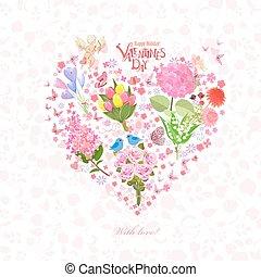 Romantisches Blumenherz mit Amor für Ihr Design.