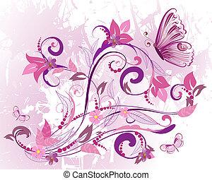 Romantisches Design von Blumen und Pflanzen