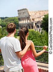 romantisches, italien, rom, colosseum, touristen