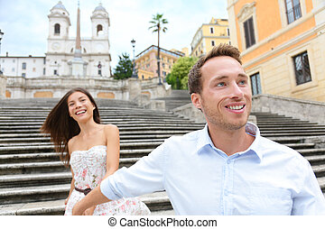 Romantisches Reisepaar, Spanische Treppe, Rom, Italien