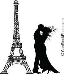 romanze, paris, vektor, silhouette