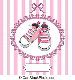 Rosa Babyschuhe und Spitzenrahmen