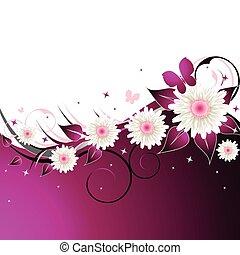 rosa, blumen-, abstrakt, hintergrund
