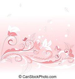 rosa, blumen muster