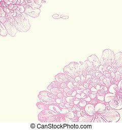 rosa, blumen-, rahmen, vektor, quadrat