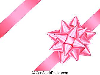 Rosa dekoratives Geschenkband und Bogen isoliert auf weißem Hintergrund.