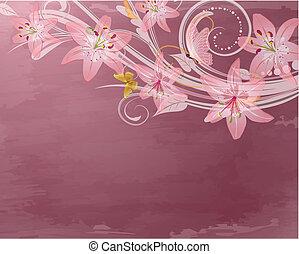 rosa, fantasie, blumen, retro