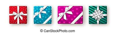 rosa, geschenkband, rotes , bow., geschenk, blaues, grün, kasten