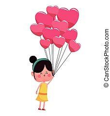 rosa, herzen, m�dchen, luftballone, valentine
