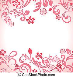 rosa, kirschen, rahmen, seamless, blüte