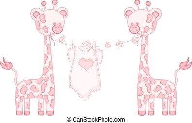 Rosa, kleine Giraffe.
