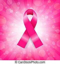 rosa, krebs, banner, brust, geschenkband