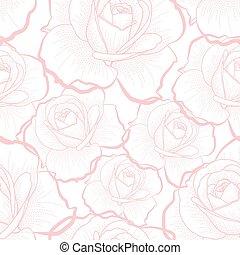 Rosa Linienrosen auf weißem, nahtlosem Muster.