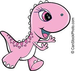 Rosa Mädchen Dinosauriertiervektor