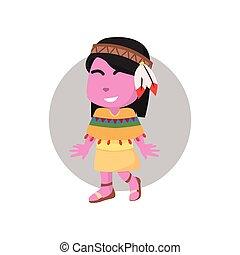 Rosa Mädchen mit indianischem Kostüm.