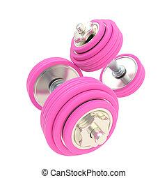 rosa, paar, strength:, hanteln, frauen