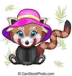 rosa, panda, begriff, sommer, m�dchen, rotes , urlaub, hut