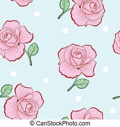 Rosa Rosen und weiße Punkte nahtlos Muster.