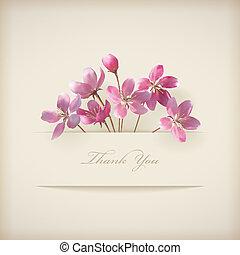 rosa, 'thank, you', fruehjahr, vektor, blumen-, blumen, karte