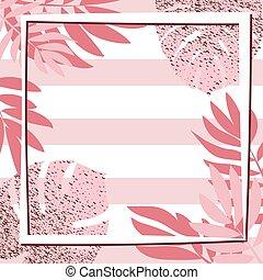 Rosa tropische Blätter mit Rahmen. Ausgezogener Hintergrund