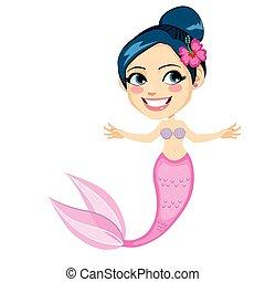 Rosa tropische Meerjungfrau.