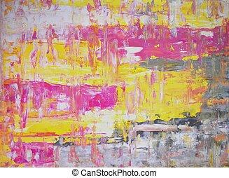 Rosa und gelbe abstrakte Kunst.