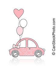Rosa, weibliches Auto mit Blumenschmuck und Ballons für dein Design