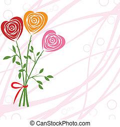 rose, blume, heart., mögen, hintergrund