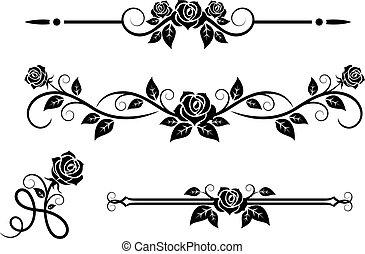 rose, blumen, elemente, weinlese