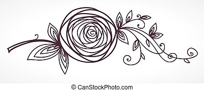 Rose. Stylisierte Blumenhandzeichnung