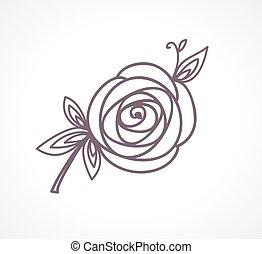Rose. Stylisiertes Blumensymbol.
