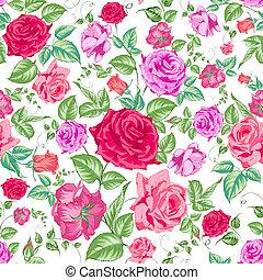 Rosen, Blumenhintergrund, nahtlose Muster.
